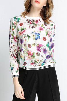 #AdoreWe Dezzal Sweatshirts - Dezzal Pullover Floral Printed Sweatshirt Size S - AdoreWe.com