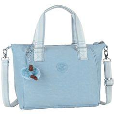Kipling Amiel Medium Handbag , Pastel Blue ($78) ❤ liked on Polyvore featuring bags, handbags, pastel blue, hand bags, fake bags, man bag, strap purse and blue handbags