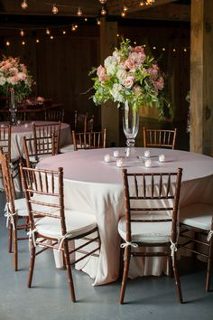 tall centerpiece in pink + green | Declare Photography #wedding
