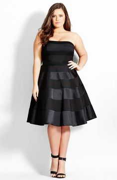 City Chic 'Miss Shady' Stripe Strapless Fit & Flare Party Dress (Plus Size) #plussizepartyoutfit