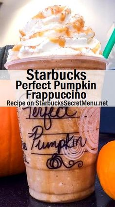 Starbucks Perfect Pumpkin Frappuccino We love how festive the Perfect Pumpkin Frappuccino is! A Tasty treat for any pumpkin lover. Starbucks Secret Menu Drinks, Starbucks Recipes, Coffee Recipes, Pumpkin Recipes, Fall Recipes, Starbucks Fall Drinks, Pumpkin Drinks, Pumpkin Spice Frappuccino, Frappuccino Recipe