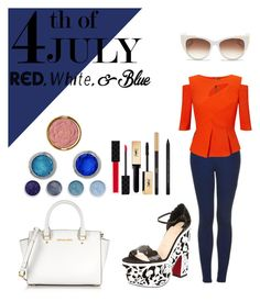 4th of July by maggiefrank on Polyvore featuring polyvore, fashion, style, Roland Mouret, Topshop, Christian Louboutin, Michael Kors, Thierry Lasry, Milani, Yves Saint Laurent, Terre Mère, Gucci, clothing, redwhiteandblue and july4th