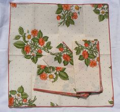 Set of 4 Vintage Napkins Cream with Orange & White Flowers by TwoLightsAboveTheSea, SOLD