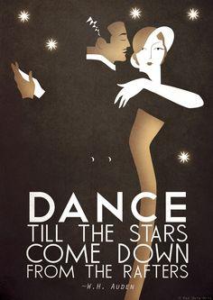 Original Design A3 Art Deco Bauhaus Poster Print, Vintage Dance Tango Themed, W.H. Auden