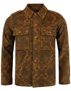 'Paisley Lennon' Men's 1960s Mod Cord Military Jacket from Madcap England