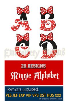 Minnie Alphabet Embroidery Font Monogram 26 by EmbroideryGenius