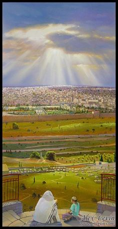 Jerusalem - view from across the Kidron Valley (Painting by Alex Levin of Tel Aviv, Israel)