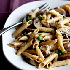 Pasta with Portobello Mushrooms, Caramelized Onions, and Goat Cheese
