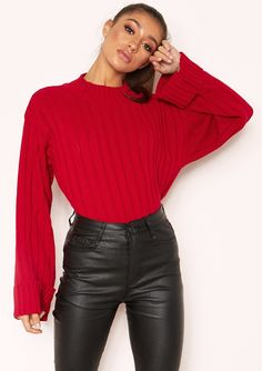 2cad5328f00020 Missyempire - Arlene Red Knit High Neck Jumper How To Fold Sleeves, High  Neck Jumper