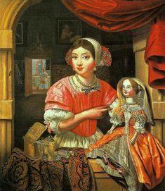 The Athenaeum - Young Woman Holding a Doll in an Interior with a Maid Sweeping Behind (Edwart Collier - )