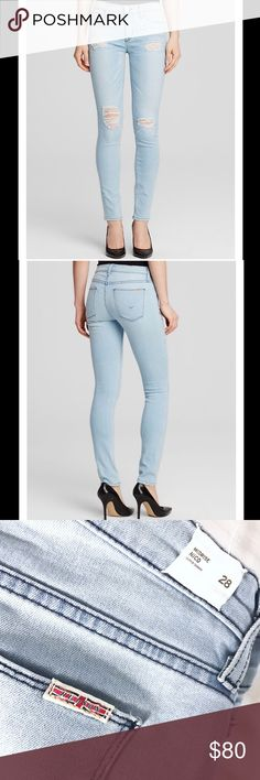 HUDSON NICO SUPER SKINNY JEAN Hudson Nico mid-rise distressed super skinny jean in strata color. Excellent condition and extra comfy! Inseam of 30. Rise is 9. Hudson Jeans Jeans Skinny