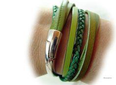 Leder Armband grün Wickelarmband geflochten von elfenstuebchen