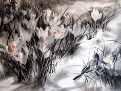 Crocuses at night Japanese Ink Painting by Suibokuga on Etsy
