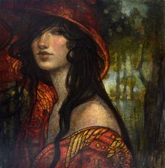 The Red Cape original oil by Rebecca Léveillé-Guay | R. MICHELSON GALLERIES
