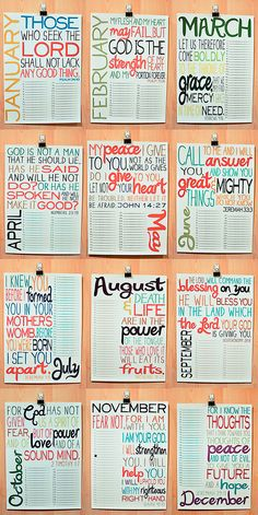 Scripture Calendar - cute idea for any type of text. Could add a numbered blank list on each page to write things you were thankful for that day (fill up the whole month)