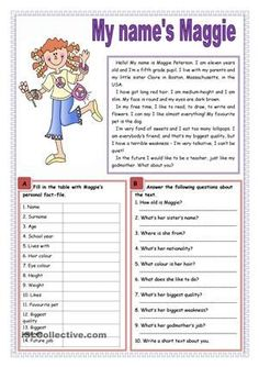 A simple text about a young girl who introduces herself, followed by comprehension. - ESL worksheets