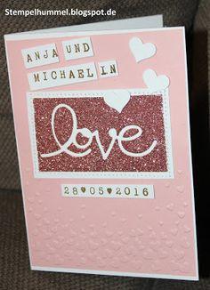 Eine Hochzeitskarte in Rosa, mit Glitzerpapier in Kirschblüte von SU, Hintergrund embosst