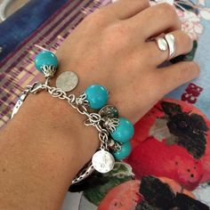 Silver plated Turkish bracelet with turquoise beads
