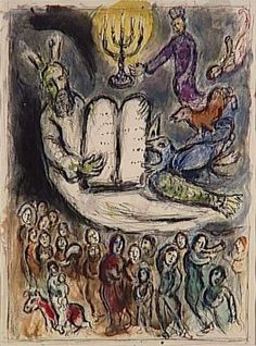 Moses called the elders and presents Tablets of Law - Marc Chagall