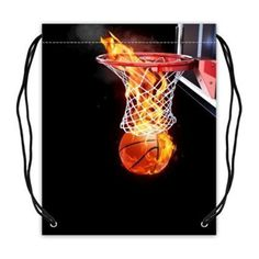 Custom Flaming Basketball Going Through A Court Basketball Drawstring Bags Backpacks Polyester Fabric Travel Backpack(Twin Sides) -- Awesome products selected by Anna Churchill