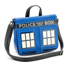 Doctor Who TARDIS Messenger Bag (1.033.275 IDR) ❤ liked on Polyvore featuring bags, messenger bags, vegan leather bags, faux leather messenger bag, blue bag and courier bags