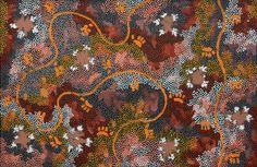 Clifford Possum Tjapaltjarri (Aborigène, 1932-2002) Possum Dreaming (1994) peinture polymère synthétique sur toile, 32,5 x 49,5 po.
