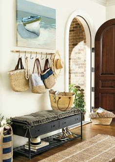 Simple Coastal Entryway Storage Ideas with Benches & Wardrobes - Completely Coastal