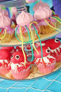 Mermaid Party - Jellyfish and Crab Cupcakes