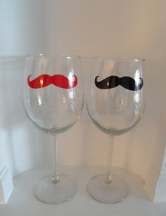2 Mustache Wine Glasses   Set  of 2  by YouniquelyElegant on Etsy, $14.00
