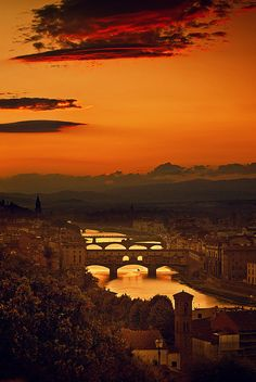 Sunset in Four Bridges of Florence, Italy