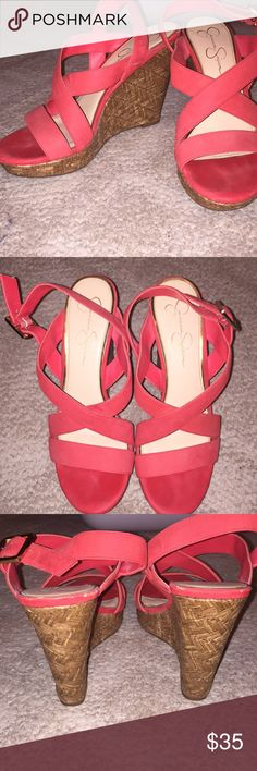 Jessica Simpson coral wedges Coral wedges! Worn once. Suede straps. 4 1/2 inch heel. Jessica Simpson Shoes Wedges