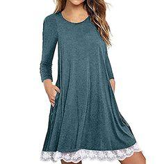 63714407498 Lelili Clearance Women Fashion Shirt Dress Plus Size Long Sleeve Crewneck  Lace Hem Flowy Swing Mini Dress with Pockets Green)