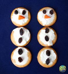 Make snowmen with RITZ crackers, cream cheese, carrots and raisins. An adorable snack for kids and parties.