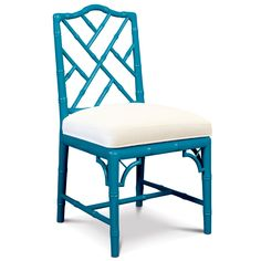 Spot on as both desk chair and dining chair. Jonathan Adler's Chippendale Dining Chair brings a touch of the tropics indoors with its bamboo-like design. This handcrafted side chair comes finished in high gloss white with navy linen cushion or high gloss Bamboo Dining Chairs, Black Dining Chairs, Fabric Dining Chairs, Chair Fabric, Upholstered Dining Chairs, Side Chairs, Furniture Chairs, Kitchen Chairs, Desk Chairs