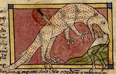 Folio A most peculiar crocodile eating a man, who presumably stuck the knife in the beast in an attempt to avoid becoming lunch. Medieval Dragon, Medieval Art, Medieval Manuscript, Illuminated Manuscript, Old Best Friends, The Beast, Renaissance, Sea Monsters, Animals Images