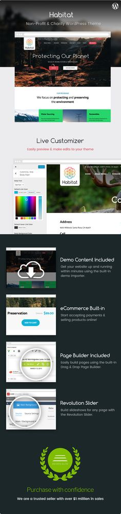 Download Habitat  Non-Profit and Charity Theme (Environmental)  Show off your work with this easy-to-customize and full featured WordPress Theme. When purchasing this theme you will receive a detailed help file along with additional features like a eCommerce and a Drag/Drop Page Builder.  Key Features  Page Builder Included ($34 Value)  Easily build your pages with the Visual Composer page builder  Slider Revolution Included ($25 Value)  Easily build slideshows for any page using the…