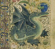 Fragment van een Historiebijbel: twee scènes uit het leven van Samson Histoire ancienne jusqu'à César c. 1470-75 (Fragment of a History Bible with Dragon detail).