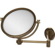8 inch Wall-Mounted Extending Make-Up Mirror, 2x Magnification with Dotted Accent (Build to Order)