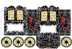 Spiderman: Caja con forma de Carruaje para Imprimir Gratis.