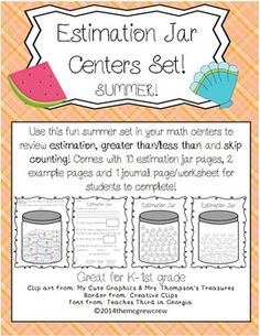 ON SALE TODAY AND TOMORROW (6/9-6/10). Estimation Jar SUMMER set! Practice estimation, grouping, skip-counting and greater than/less than! $