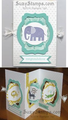 Stampin' Up! Cards - 2014-02 Class - Zoo Babies stamp set, Deco Labels Collection Framelits