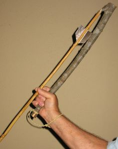 Gripping the Atlatl with wrist band. Band is not always recommended as you could hit yourself on forward motion if you lose grasp.