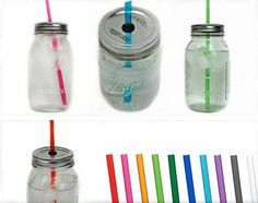 Mason Jar To-Go Tumbler Lid and Reusable Straw for $5.25.  I wonder if a mason jar would fit in the cup holder in my car though...?