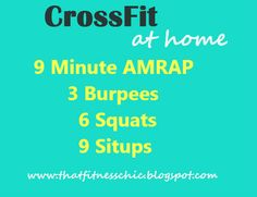 "AMRAP ""As Many Rounds As Possible"" - Complete as many rounds of the 3-6-9 that you can in 9 minutes!"
