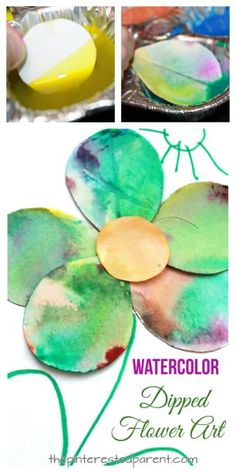 Watercolor dipped flower art. Spring arts and crafts projects for kids. Beautiful and fun process