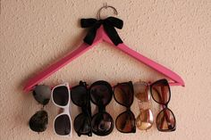 cute sunglasses holder DIY, good for scarves or belts too