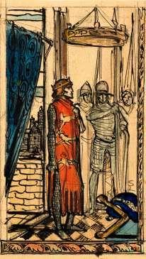 Richard Coeur de Lion en réunion. Aquarelle et encre. SbD. 15,5x9,5cm. Collection particulière. Provenance : Galerie Kiwior