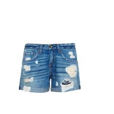 RAG & BONE The Boyfriend distressed denim shorts ($153) ❤ liked on Polyvore featuring shorts, mid indigo, jean shorts, high rise shorts, ripped jean shorts, high-waisted denim shorts and ripped denim shorts