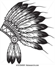 Illustration of native american indian chief headdress indian chief mascot, indian tribal headdress, indian headdress vector art, clipart and stock vectors. Native American Headdress, Native American Art, American Indians, Sombrero Cowboy, Indian Scout, Indian Drawing, Native Art, Indian Art, Silhouette