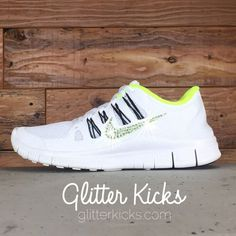 Women s Nike Free Running Shoes By Glitter Kicks - Hand Customized With  Swarovski Crystal Rhinestones - White Yellow Black f2e4d7674